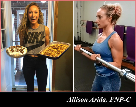 Allison Arida eating a keto diet and exercising