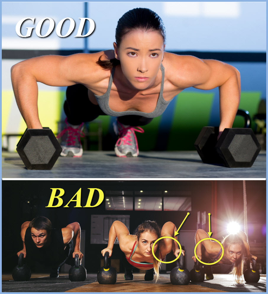women performing pushups with dumbbells